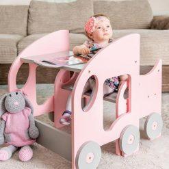 Table Montessori chaise encastrable rose
